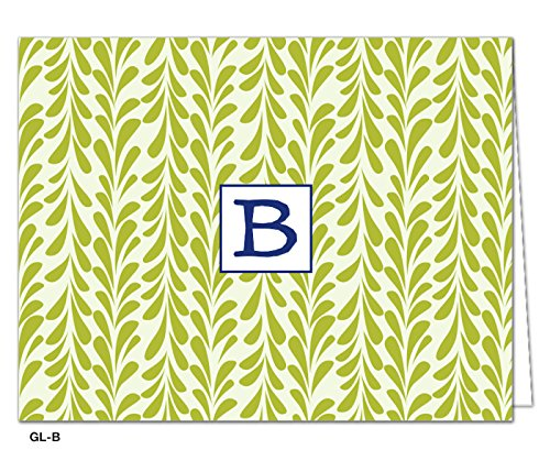 Oatmeal Studios Blank Monogram Cards Leaves Notes, Green, Letter B шапка herschel abbott heathered oatmeal
