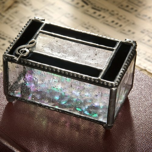 J Devlin Glass Box 350-2 Tiffany Styled Stained Glass Jewelry Keepsake Box Black and Clear with Musical Clef 2