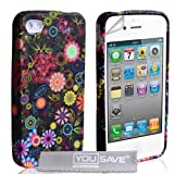 iPhone 4 / 4S Black Floral Silicone Caseby Yousave Accessories