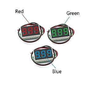 DaFuRui 6pcs Mini Digital Voltmeter DC 4V-30V 0.36 Inch Two-Wire Mini Digital Voltmeter Voltage Tester Meter 3 Colors