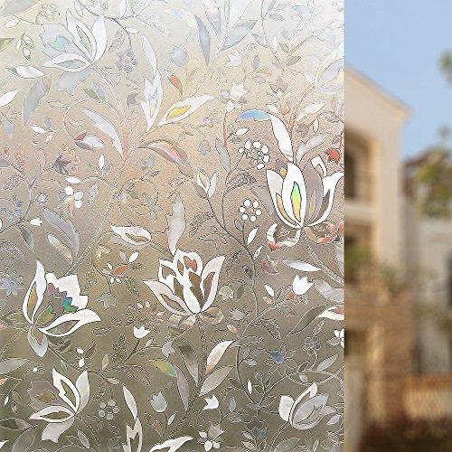 rabbitgoorpellicola-per-finestre-e-vetri-3d-fiori-decorativenon-collaautoadesivaprivacy-445cm-x-200c