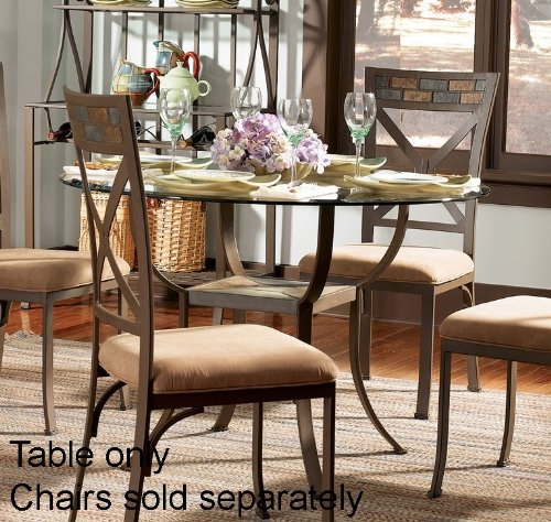 Cheap Pedestal Dining Table with 45″ Glass Top and Slate Accents in Bronze Finish (PW-367-411-GC3)