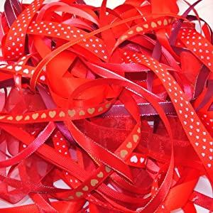 Ribbon off cut bundle - Red shade - contains 10 different 1 metre ribbons - by NWBcraft