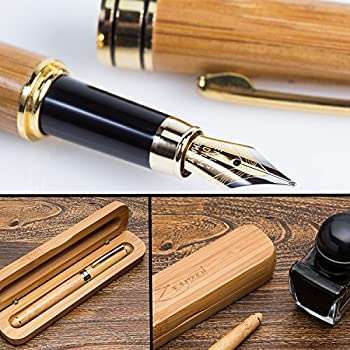 Fountain Pen Writing Set Case 100% Handcrafted Bamboo Vintage Collection with Ink Refill Converter - You Get Best Signature Calligraphy Antique Executive Business Gift Pens - 100% Quality Guarantee