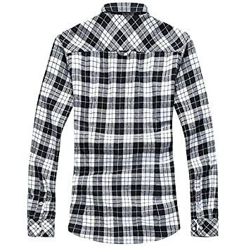 WELITY Men's Long Sleeves Retro Vintage Checker Plaids Dress Shirt