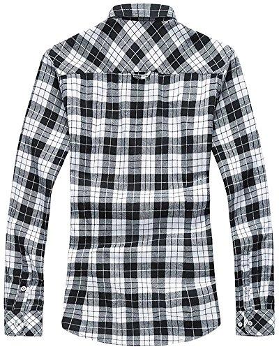 WELITY Men's Long Sleeves Retro Vintage Checker Plaids Dress Shirt 1