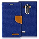 LG G4 Case, [Drop Protection] GOOSPERY® Canvas Diary [Denim Material] Wallet Case [ID Credit Card and Cash Slots] with Stand Flip Cover for LG G4 - Blue / Camel