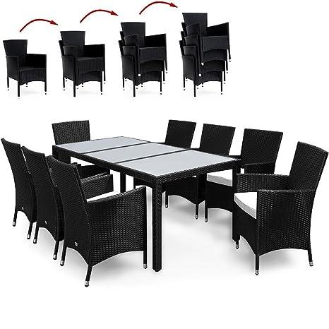 Alu Poly Rattan Sitzgruppe mit Tisch und Stapelbaren Stuhlen Sitzgarnitur Gartengarnitur