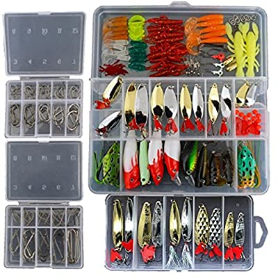 Smartonly1 Set 226Pcs Fishing Lure Tackle Kit Bionic Bass Trout Salmon Pike Fishing Lure Frog Minnow Popper Pencil Crank Soft Hard Bait Fishing Lure Metal Jig from Smartonly