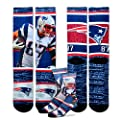 New England Patriots Youth Size NFL Rush Crew Kids Socks (4-8 YRS) 1 Pair - Rob Gronkowski