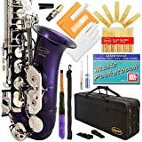 370-PR - Purple/Silver Keys Eb E Flat Alto Saxophone Sax Lazarro+11 Reeds,Music Pocketbook,Case,Care Kit - 24 Colors with Silver or Gold Keys