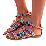 Hot Sale!  Women Bohemia Tie Up Sandals Gladiator Artificial Leather Sandals Flats Shoes With Balls (US:6.5, Multicolor) (Color: Multicolor, Tamaño: US:6.5)