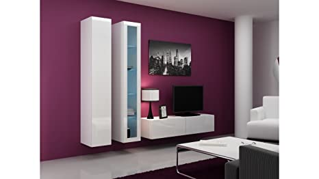 BMF VIGO MINI 10 VERTICAL WALL CABINETS WITH FLOATING / HANGING TV STAND IN MATT / HIGH GLOSS FINISH - WHITE