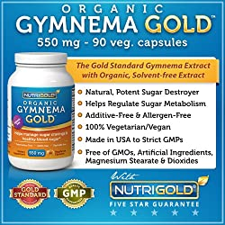 Organic Gymnema GOLD, 550mg, 90 veggie capsules (Gurmar Sugar Destroyer) (#1 Gymnema Sylvestre Leaf Extract Supplement for Sugar Cravings)