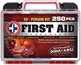 Be Smart Get Prepared 250 Piece First Aid Kit, Exceeds OSHA ANSI Standards for 50 People - Office, Home, Car, School, Emergency, Survival, Camping, Hunting, and Sports
