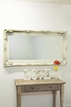 Large Cream Decorative Antique Ornate Big Wall Mirror 6Ft X 3Ft