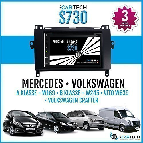 ?ICARTECH 7 Autoradio DVD Player für Mercedes A-Klasse W169, B-Klasse W245, Viano, Vito, Sprinter, Volkswagen Crafter? Das bärenstarke Android 4.1 Radio mit GPS Navigation?Bluetooth?WiFi?Multi-Touch Display?3G?4G? Vorbereitung für: TV (DVB-T) & Digital Radio (DAB+), Dash-Cam (DVR), Apps-Erweiterung wie z.B. GooglePlay, Blitzer.de, Clever Tanken, TuneIn Radio u.v.m, inklusive Wifi Mirroring: iPhone Display Spiegelung + Airplay (ab 4S), Navigationssystem. - S730