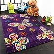 Tapis Pour Enfant Moderne Design Avec Papillons En Purpre Violet Qualit� Top, Dimension:120x170 cm