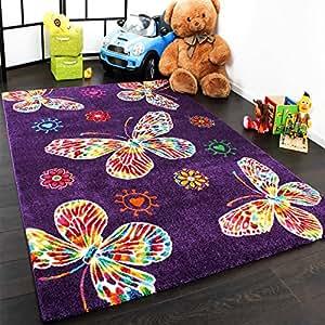 Amazon.com - Tapis Pour Enfant Moderne Design Avec Papillons En Purpre