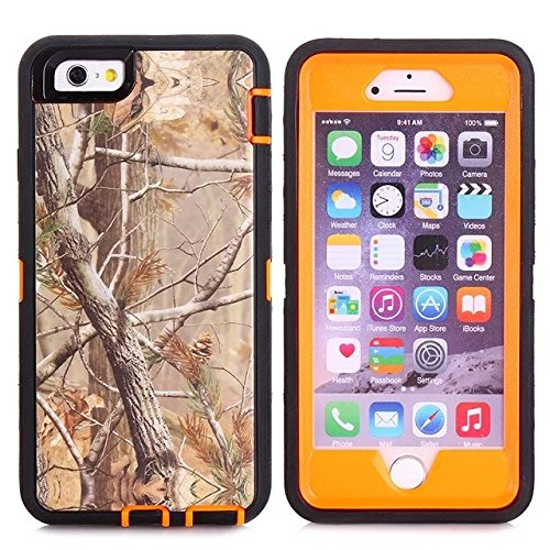 For Iphone 6s Plus Case - FiversTM Heavy Duty 3 in 1 Three Advantages Waterproof Dustproof Shakeproof with Forest Camouflage Desig Cell Phone Cases for Iphone 6s Plus 55 inch Tree- Orange