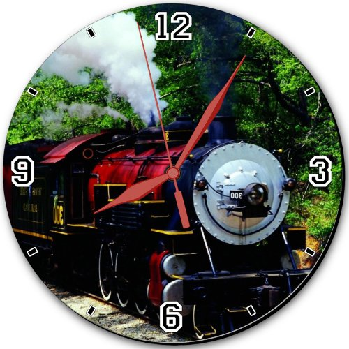 """Trains Locomotives Steaming Engine Forest Green 10"""" Quartz Plastic Wall Round Clock Classic Analog Setting Customized Inch Hand Needle Msd Made To Order Support Ready Dial Time Personalized Gift Battery Operated Accessories Graphic Designed Model Hd Templ front-612088"""