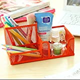 Office Desk Steel Mesh Collection Pencil Cup Pen Holder Organizer orange