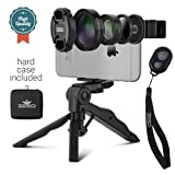 Camera Lens Kit by Zeso | Professional CPL, Macro & Wide Angle Lenses | Multi-use tripod & Selfie Remote Control | For iPhone, Samsung Galaxy, iPads,