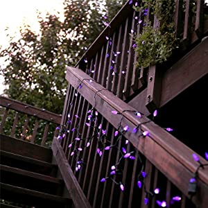 Click to buy Halloween Outdoor Lights: GudCraft Solar Powered 35-Foot Holiday String Lights, 100 LED Multicolor Bulbs from Amazon!