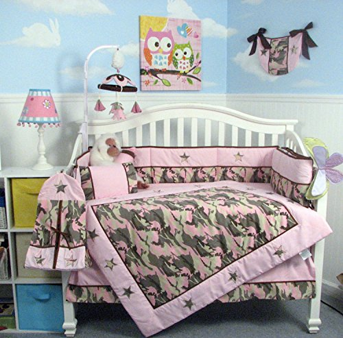 SOHO Pink Camo Baby Crib Nursery Bedding Set 13 pcs included Diaper Bag with Changing Pad & Bottle Case (Pink Camo Baby Shower compare prices)