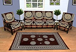 WOW Combo Of Carpet And 5 Seater Sofa Cover - scca005, Multi Color