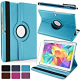 DEENOR® Samsung Galaxy Tab S 10.5 SM-T800 Luxury 360 Rotating Magnetic Smart PU Leather Case Cover with Auto Sleep/Wake Feature & Free Screen Protector + Stylus Pen (Tab S 10.5 SM-T800, BLUE)