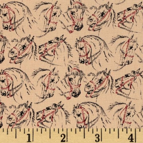 44'' Wide Classic Conversationals Horse Heads Black/Red/Tan Fabric By The Yard