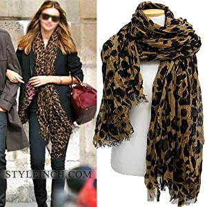 Louis Style Leopard Scarf - Brown