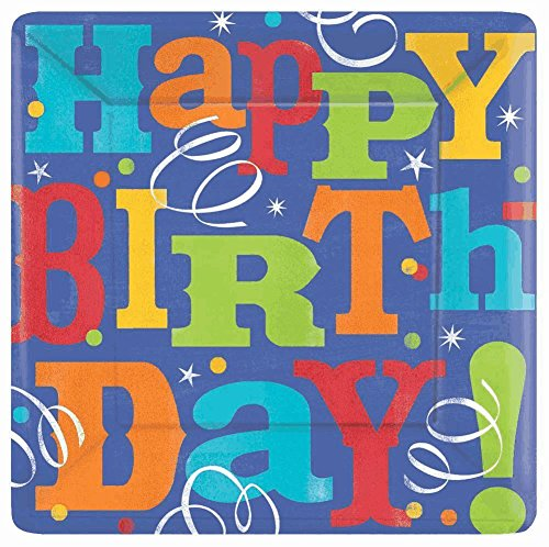 "Amscan Birthday Fever Square Paper Plates Party Tableware, Purple/Multicolored, 10"" x 10"""