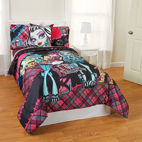 monster high fright 5pc full comforter and sheet set bedding collection coconuas229. Black Bedroom Furniture Sets. Home Design Ideas