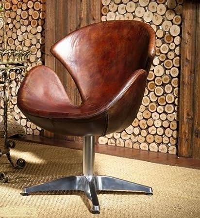 Phoenix 435 - Poltrona in vera pelle, stile vintage, modello: Egg Chair