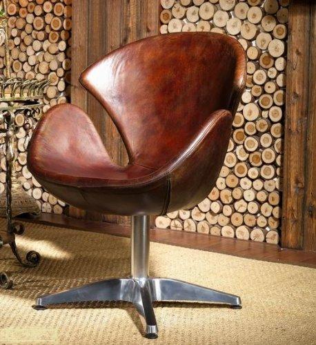 Echtleder Egg Chair Leder Sessel Vintage Ledersessel Design Lounge Clubsessel Möbel NEU 435