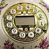 White Rose Flower Ceramic Retro Vintage Antique Style Push Button Dial Desk Telephone Phone Home Living Room Decor