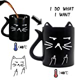 """Cat mug, Funny Mug with quotes """"I do what I want"""", heat sensitive coffee mug, middle finger color changing cup, Cat tail handle, Perfect gift option, Onebttl-NEKO (Color: Black)"""