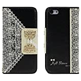 Suppion Black Fresh Cute Flip Wallet Leather Case Cover for Iphone 5c