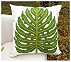 Secret Life(TM) Cotton Cushion Cover Toss Pillow Case Home Decor 18x18 with invisible Zipper (Big Green Leaf)