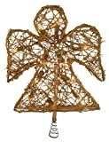 "10"" Lighted Gold Rattan Angel Christmas Tree Topper - Clear Lights"