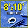 Grizzly Tarps GTRP810 8 x 10-Feet Blue Multi-Purpose 6-Mil Waterproof Poly Tarp Cover Tent Shelter Camping Tarpaulin
