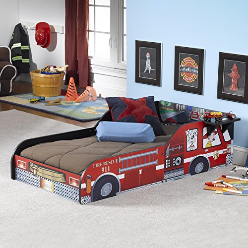 Wood Composite Fire Truck Red Print Toddler Size Bed (Fire Truck Bed Tent compare prices)