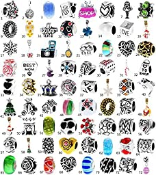 1000 Model Choices of Silver Charms, Rhinestone Birthstone charms, Crystal Bead Charms, Glass Beads and Spacers fit for pandora Snake Chain Charms Bracelet.