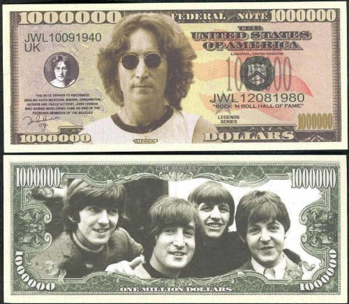 The Beatles $Million Dollar$ Novelty Bill John Lennon In Collector Grade Currency Holder - 1