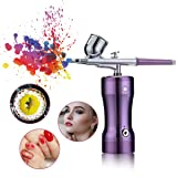 Airbrush Kit,Fy-Light Single-Action Cordless Air Brush Gun with 0.3MM Needle 7 CC Cup Rechargeable Mini Air Compressor for Makeup, Hobby, Craft, Cake Decorating, Tattoo (Color: Violet-2, Tamaño: 130 Gun+0.3M Needle)