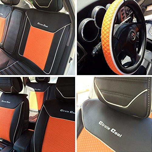 Circle Cool Black & Orange Leather Car Seat Cover Shift Knob Seat Belt Cover Set 33081 front-1074216
