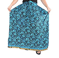 Aura Life Style Women Cotton Long Skirt (ALSK2124P, Blue)