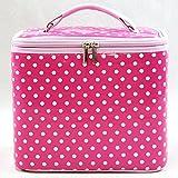 鞄/バック ソフトな手触り、でもしっかり! ドット柄バニティーケース ピンク